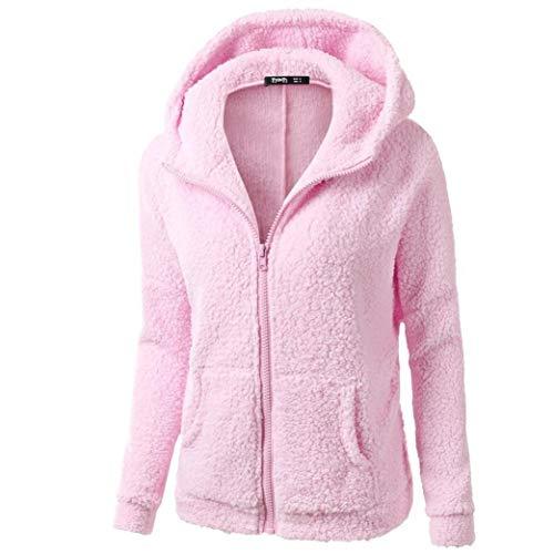 Liraly Womens Coats,Clearance Sale! 2018 Fashion Women Hooded Sweater Coat Winter Warm Wool Zipper Coat Cotton Coat Outwear(US-8 /CN-L,Prink) by Liraly (Image #1)