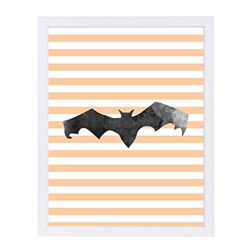 Americanflat Halloween Striped Bat White Frame Print by Jetty Printables, 12