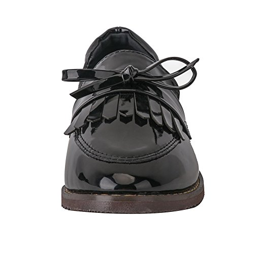 Meeshine Damen Leder Slip On Flache Halbschuhe Schuhe Fringe Low Heel Loafers Schuhe Schwarz