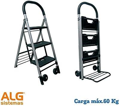 Carretilla+escalera plegable de 3 peldaños 60 Kg: Amazon.es: Bricolaje y herramientas