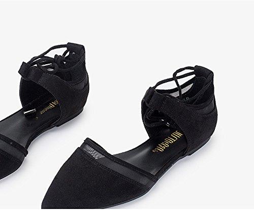 Avec Femmes À Bas Pointus Plat Noir Chaussures Simples Fond Talon Chaussures Rf4qw