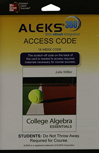 Aleks 360 Access Card  18 Weeks  For College Algebra Essentials