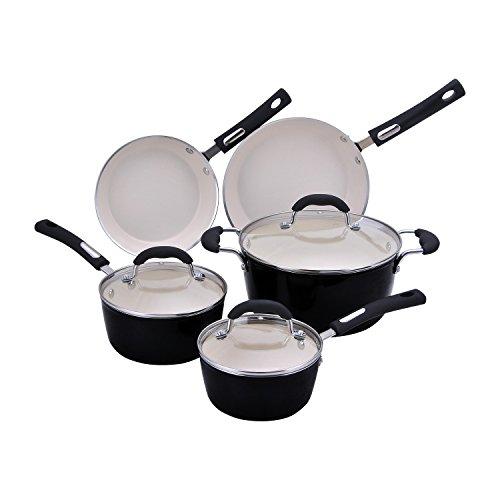 (Hamilton Beach 8pc Aluminum Cookware Set, 3.0mm Forged, Black Porcelain Enamel, Cream Ceramic Non-Stick)