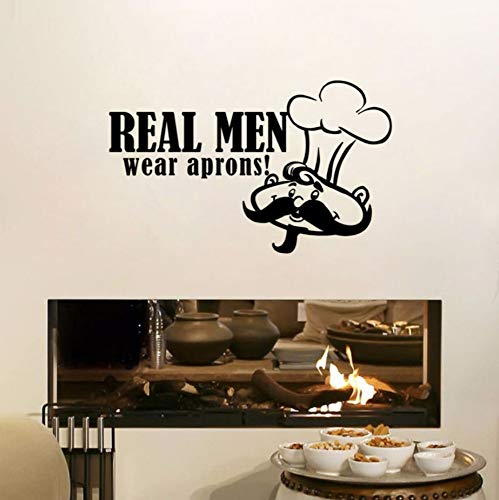 (xiaomeihao Art Mural Real Man Wear Apron Quote Wall Sticker Chef with Moustache Vinyl Removable Wall Decal Kitchen Decoration 4427Cm)
