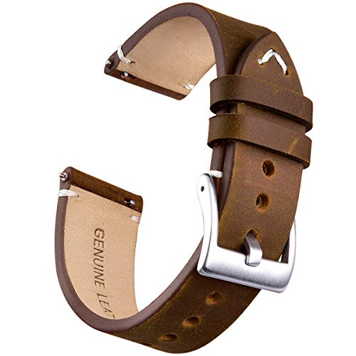18mm Brown Leather Bands Strap - 18mm Genuine Leather Watch Bands Quick Release Leather Watch Straps Compatible with Seiko Watch for Men