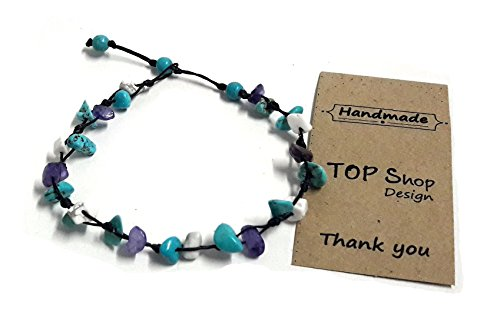 Stone Blue Turquoise Mix Color Bead Anklet or Bracelet Beautiful 26 cm.Handmade for Women Teens and (Cute Female Clown Costumes)