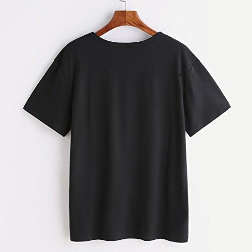 Fille Tops Noir Angelof Manche shirt O T Blouse Basique Ete Col Top Loose Chat Courte Imprimé Simple Femme Ample xqvaU