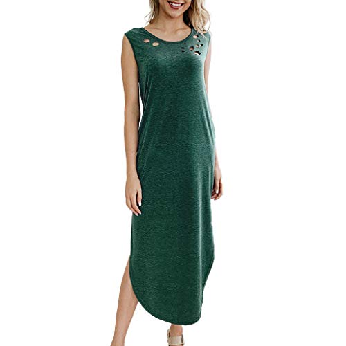 Women's Summer Maxi Dress Casual Loose O Neck Hole Plain Cami Long Dress Basic Sleeveless Split Floor Maxi Dress with Pocket Green