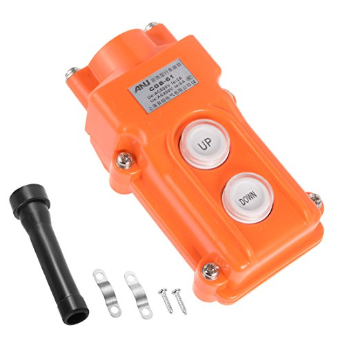 uxcell Rainproof Hoist Crane Pendant Control Station Push Button Switch Up Down 2 Buttons