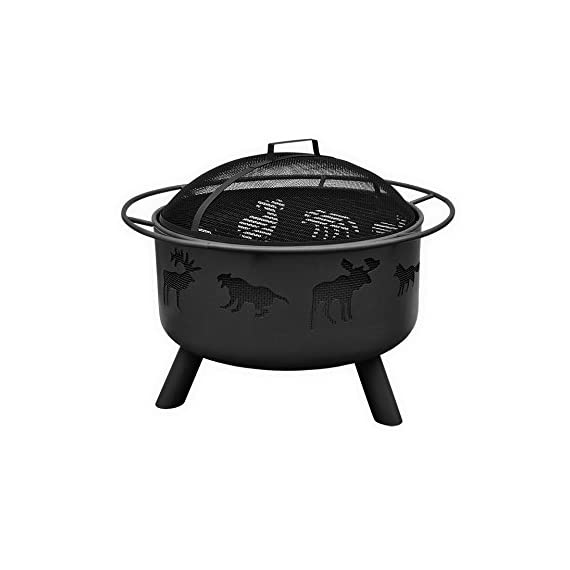 BS Wildlife Fire Pit - Outdoor fire pit with spark screen and poker Wildlife cutouts glow for a unique nighttime ambience Black finish for less cleaning - patio, outdoor-decor, fire-pits-outdoor-fireplaces - 41JIy8CsGRL. SS570  -