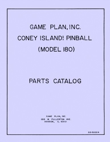 Old Coney Island! Pinball Parts Catalog - Pinball Parts Catalog