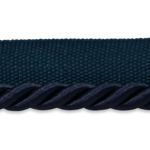 Expo International 20-Yard Emmerson Twisted Lip Cord Trim Embellishment, 1/4-Inch, Navy Blue