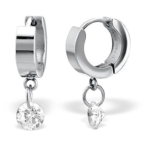 Stainless Steel High Polish w/ Dangling Crystal CZ Huggie Hoop Earrings (Crystal High Polish)