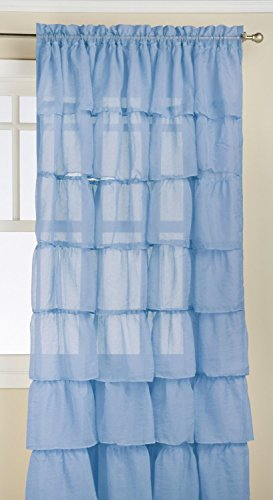 Jody Clarke 1PC Gypsy Window Treatment Curtain Crushed Sheer Panel Drape Ruffle Style Semi-Sheer Fully Stitched with Rod Pocket Avilabale in Multiple Colors and Size (55