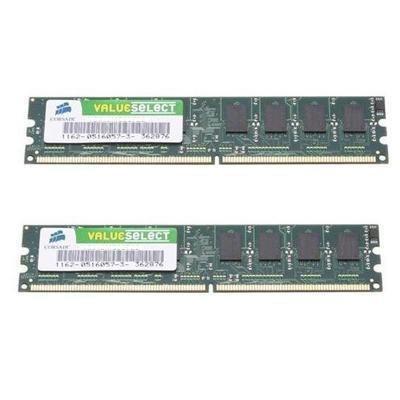 Corsair Value Select 2GB DDR SDRAM Memory Module. 2GB KIT DDR2 PC3200 2X184 DIMM UNBUFF CL3 64MX8 DRAM STDMEM. 2GB (2 x 1GB) - 400MHz DDR400/PC3200 - Non-ECC - DDR SDRAM - 184-pin