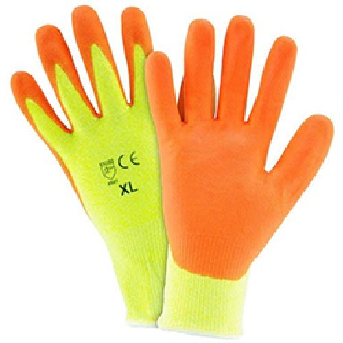 4 X 9 X 4 Hi Viz ERB Safety 22242 Posigrip Foam Nitrile Palm Coated and HPPE Shell Gloves Yellow