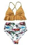 CUPSHE Women's Rambling Rose High-Waisted Push Up Bikini Set, Yellow, Large