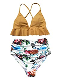 CUPSHE Women's Rambling Rose High-Waisted Push Up Bikini Set