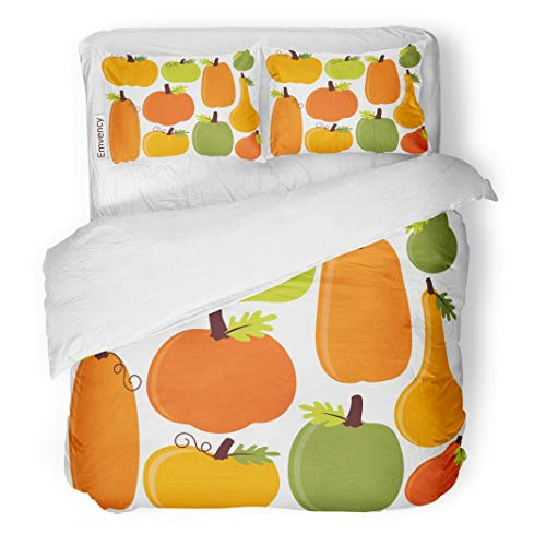 Tarolo Bedding Duvet Cover Set Orange Harvest Fall Autumn Pumpkins Yellow Food Halloween Healthy Holiday 3 Piece Twin 68