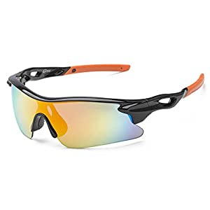 SACAS Unbreakable TR90 Frame Sports Wrap Sunglasses for Cycling, Ski or Golf in Black Orange REV