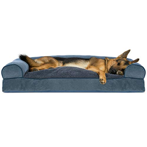 Chenille Pet Bed - FurHaven Pet Dog Bed | Faux Fleece & Chenille Soft Woven Pillow Sofa-Style Couch Pet Bed for Dogs & Cats, Orion Blue, Jumbo