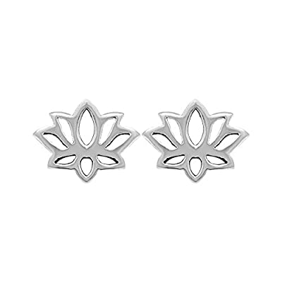 Boma Sterling Silver Lotus Blossom Flower Stud Earrings free shipping
