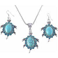 VWH 2pcs Set Vintage Ethnic Wind Turtle Turquoise Earrings Necklace