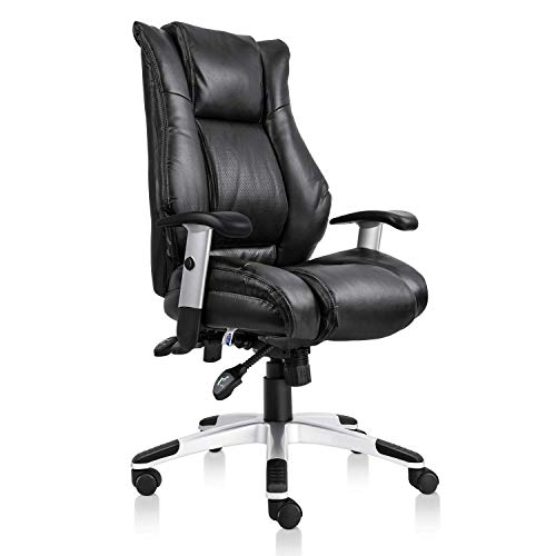 Smugdesk High Back Executive Office Ergonomic Heavy Duty Computer Bonded Leather Adjustable Desk Chair, Swivel Comfortable Rolling, Black ()