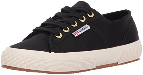 Superga Dames 2750 Satijn Mode Sneaker Zwart / Goud