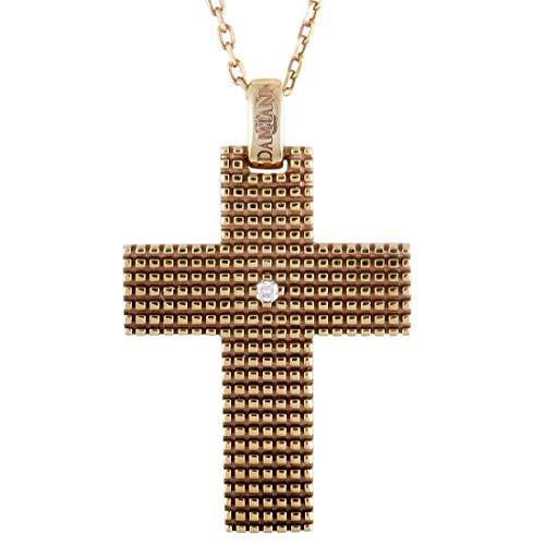 Damiani Gold Necklace - Damiani Metropolitan 18K Rose Gold and Brown Rhodium 1 Diamond Cross Pendant Necklace