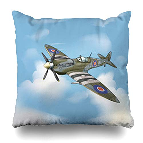 - InterestDecor Throw Pillow Covers Pillowcase RAF Blue Detailed Drawing Supermarine Spitfire Ww Ww2 Fighter War Plane Layers Groups Meshes Airplane Zippered Square Size 16 x 16 Inches Cushion Case