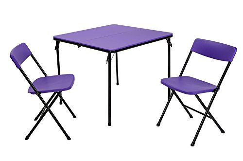 Cosco Products 3 Piece Indoor Outdoor Center Fold Table & 2 Chairs Tailgate Set with Black Frame, Purple