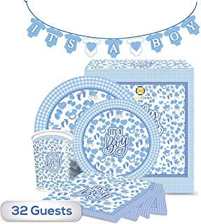 The Golden Choice - 32 Guests Baby Shower Plates Large/Small, Cups, Napkins, & Banner Party Set/Supplies Decorations or Gender Reveal - 129 Pieces
