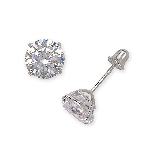 14k White Gold Solitaire Round Cubic Zirconia CZ Stud Screw-back Earrings (2mm-7mm) (5mm-white-gold)