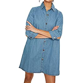 Women's  Denim Shirt Dress Denim Button Up Shirt Mini Dress