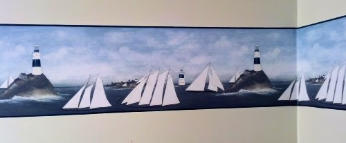 (Lighthouse and Sailboats Primitive Wallpaper Border by Rolling-Borders)
