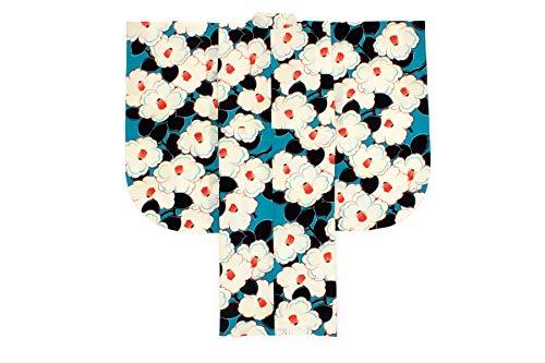 袴用二尺袖着物 九重 青 ブルー 白 オフホワイト 椿 つばき 花 重衿付き 小紋柄 小振袖 卒業式 謝恩会 女性 日本製