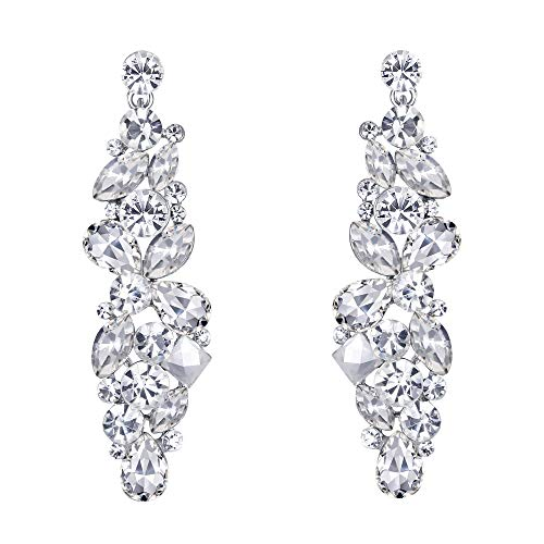 (EVER FAITH Silver-Tone Bridal Tear Drop Flower Cluster Dangle Earrings Clear Crystal Rhinestone)