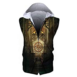 Men's Waistcoat Hoodie Sleeveless, Arrow,Medieval Passage with Torch and Golden