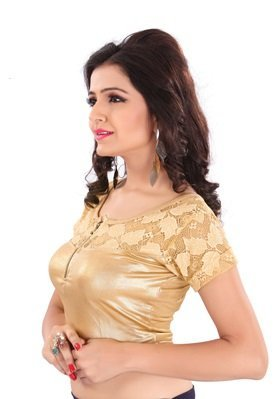 Fressia Fabrics Readymade Free Size Saree Blouse for Women Party wear choliNFBA-126_Golden