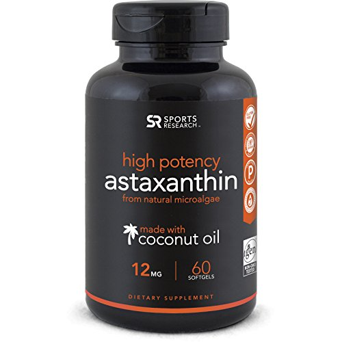 Astaxanthin (12mg) with Organic Coconut Oil for Better Absorption | Powerful Antioxidant Naturally Supporting Joint, Skin, Eye Health | Non-GMO & Gluten Free (60 Softgels)