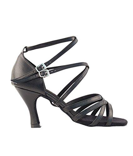Veldig Fine Ballroom Latin Tango Salsa Dans Sko For Kvinner -5008 Til 2,5 Hæl + Sammenleggbar Skoen Pensel Bunt Sort Skinn