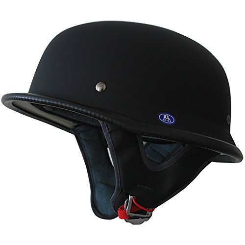 (Low Profile German Half Helmet Open Face Cruiser Chopper Biker Helmet (Matt Black, M))
