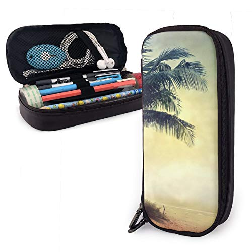 Benunit Pencil Case - High Capacity Vintage Retro Style Grunge Palm Tree Pencil Pouch Stationery Organizer Multifunction Cosmetic Makeup Bag
