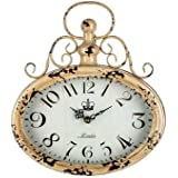 Antique Cream Oval Metal Wall Clock with Top Swirl