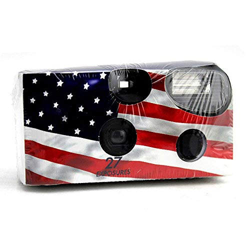 Disposable Cameras 35mm Film 27Exp + Flash Single Use USA American Flag (1-Pack)