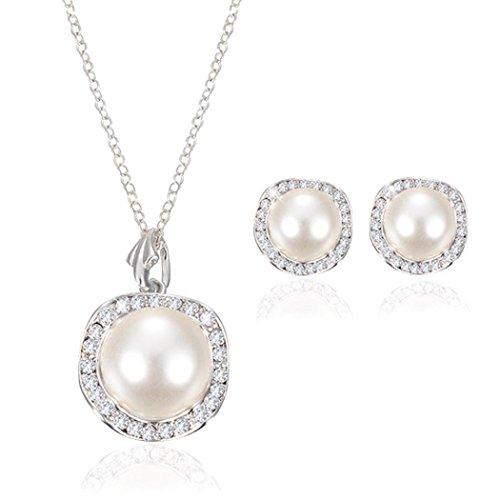 Creazy Bridal Crystal Wedding Jewelry Set Alloy Necklace Earrings Rhinestone (062#)