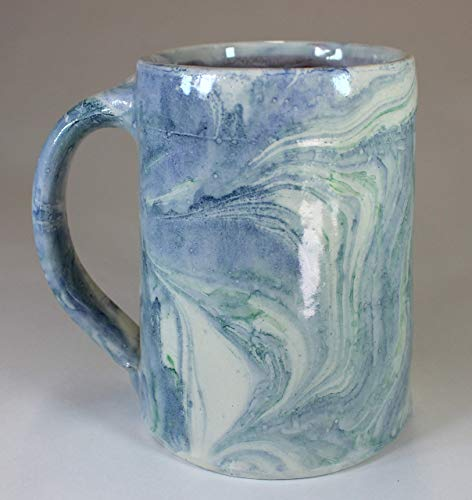 Blue and Green Marbled Earthenware Tankard by Marbled Pottery (Image #1)