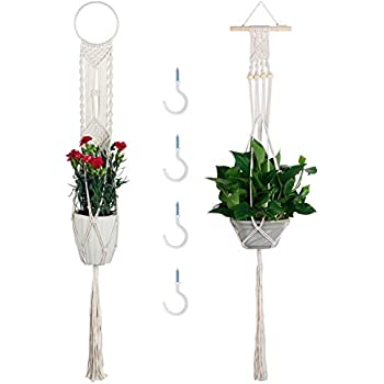 Macrame Plant Hangers 2 Pack 43 inch Hanging Basket Moutik Hanging Plant Holders Indoor Outdoor Hanging Planter Basket Cotton Rope 4 Legs 43 Inch