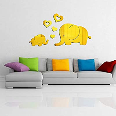 Jeash Love Heart Little Elephant Wall Decor Mirror Sticker Decal Removable Art Baby Kids Nursery Bedroom Living Room Personality Mural TV Background Decoration Art Room Decor (Gold): Home & Kitchen